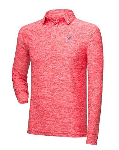 Jolt Gear Men's Dry Fit Long Sleeve Polo Golf Shirt, Moisture Wicking, Salmon (Sleek Green Slate)