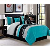 Napa by Chezmoi Collection - 7-piece Luxury Leaves Scroll Embroidery Bedding Comforter Set (Full, Teal/Gray/Black)