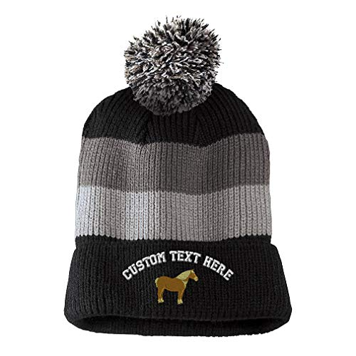 Custom Text Embroidered Belgian Draft Horse Unisex Adult Acrylic Vintage Striped Removable Pom Pom Beanie Skully Hat - Black/Grey ()