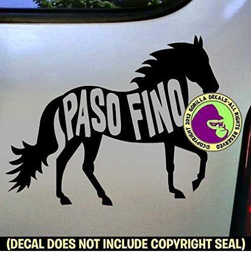 PASO FINO Words Inside Horse Vinyl Decal Sticker B