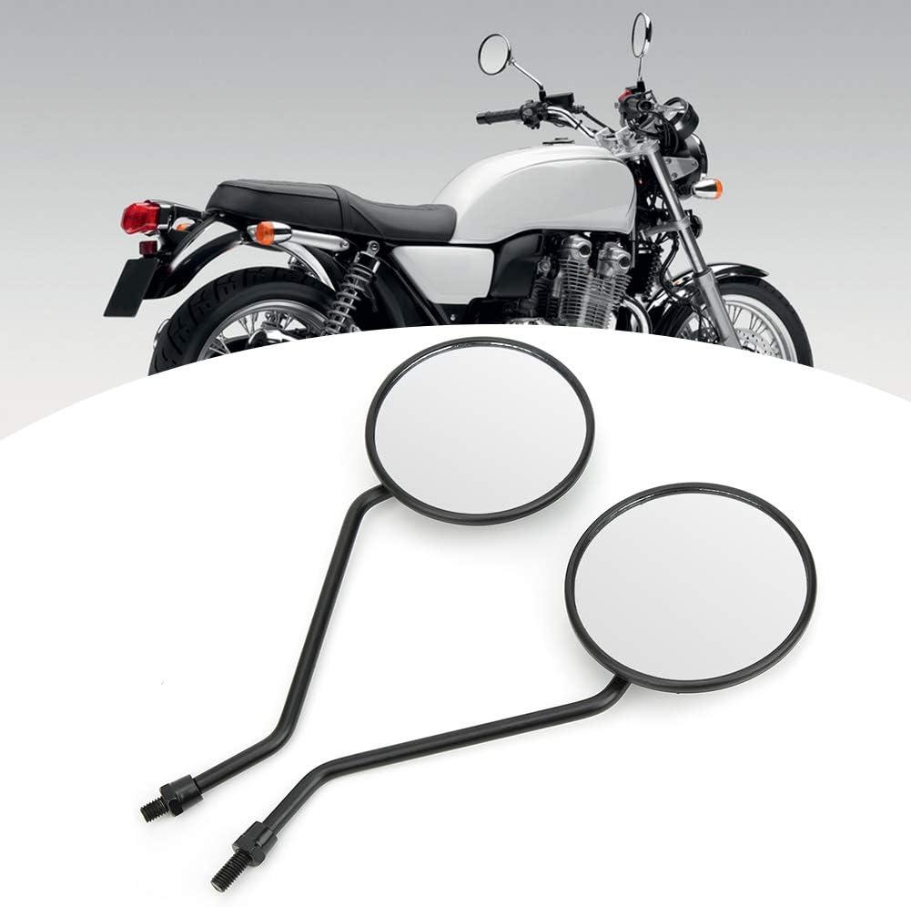 2 St/ück 8 mm R/ückspiegel Universal Retro runder Seitenspiegel f/ür Motorrad-Elektroroller KIMISS Universal 8 mm schwarzer runder Kunststoff-R/ückspiegel