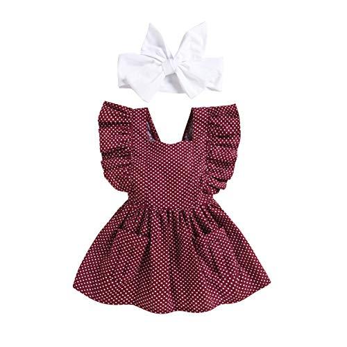 Toddler Baby Girls Ruffle Dresses, Polka Dot Sleeveless Strap Skirt + Headband 2PCS Red
