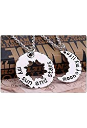 xiaoaose®Game of Thrones Inspired My Sun and Stars Moon of My Life Necklace Set Pendant