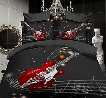 Love Tm Musique Guitare Florale Noire De Peau 100 Coton Queen Size