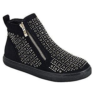 Best Seller Hightop Black Glittery Flat Heel No Wedge Round Toe Vegan Leather Zippering Flashy Cute Modern Casual Slipon Spring Summer Bootie Shoe Sneaker for Sale Women Teenage Girl (Size 7.5, Black)