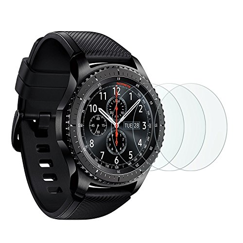 Samsung Gear S3 Screen Protector [3 Pack], OMOTON Tempered Glass Screen Protector for Gear S3 [9H Hardness] [Crystal Clear] [Scratch Resist] [No-Bubble] (Samsung Gears Screen Protector compare prices)