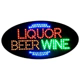 LED Liquor Beer Wine Open Light Sign Super Bright Electric Advertising Display Board for Bar Pub Club Business Shop Store Window Bedroom Decor (27 x 15 inches)