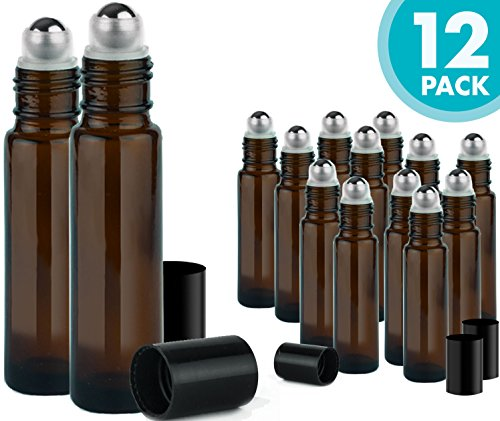 Roller Bottles for Essential Oils – 12 Pack 10 ml Glass Tall Roll On Refillable Empty Amber Bottles with Stainless Steel Roller Ball Cap Bulk – DIY Perfume Aromatherapy – Bulk Essentials - Roller Holder