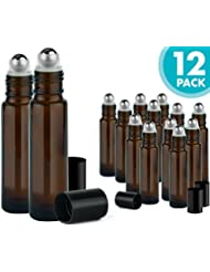 Roller Bottles for Essential Oils – 12 Pack 10 ml Glass Tall Roll On Refillable Empty Amber Bottles with Stainless Steel Roller Ball Cap Bulk – DIY Perfume Aromatherapy – Bulk Essentials
