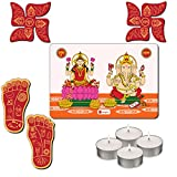 Indibni House Warming Pooja Gifts Combo Set of 4 with a Pack of Ganesh Laxmi Wall Sticker, A Pair of Swastik Shubh Labh, Pair Of Lakshmi Footprints and 4 Diwali Tea Lights - A Perfect Combo for Diwali Wall Decoration.