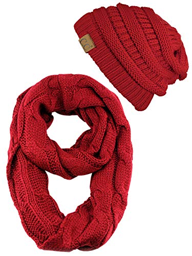 C.C Unisex Soft Stretch Chunky Cable Knit Beanie and Infinity Loop Scarf Set, Red