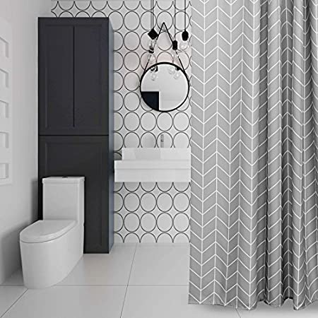 Eurcross Stripe Grey Shower Curtain Simple StyleWater Repellant Mildew Free Polyester Bathroom Machine