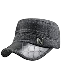Mens Winter Thicken Wool PU Fleece Lining Plaid Army Ski Hat Cap with Earmuffs