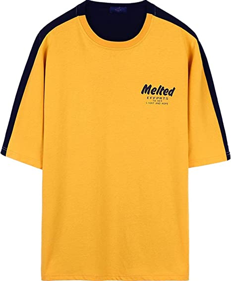 EASON Camiseta de Media Manga, Camiseta de Manga Corta de algodón Top Summer Casual Loose Entertainment,Amarillo,XXL: Amazon.es: Deportes y aire libre