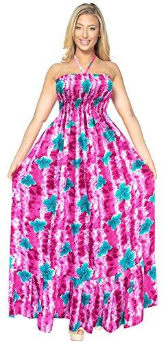 LA LEELA para Mujer de la Tarde de la Falda Maxi Vestido Tubo de Correas de Desgaste de la Playa del Traje de baño Traje de baño Encubrimiento Rosa_g929