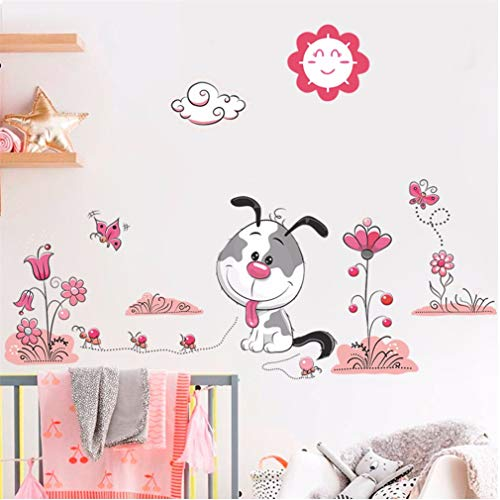 EWQHD Cartoon Animal Dogs Pet Puppy Flower Footprint Wall Stickers Kids Rooms Bedroom Home Decor Wall Decals Mural Art DIY Poster,A