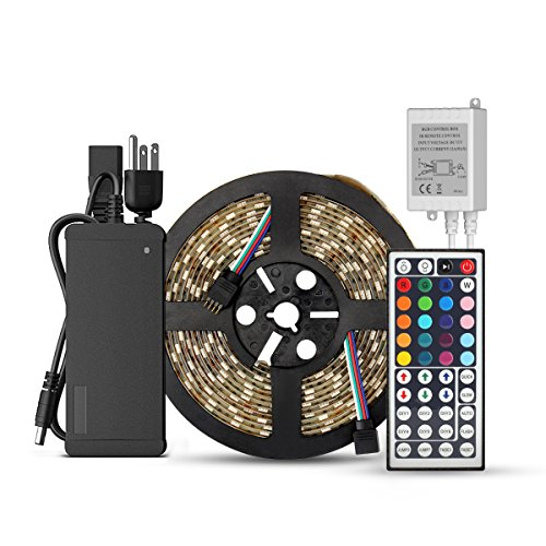 SUPERNIGHT 5-Meter Waterproof Flexible Color Changing RGB SMD5050 300 LEDs Light Strip Kit with 44 Key Remote and 12V 5A Power Supply