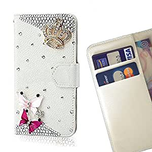 - Crown Butterfly/ Slot Card Flip Case Cover Skin Bling Rhinestone Crystal Leather - Cao - For ZTE V6