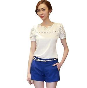 VESNIBA Ladies Women Lace Short Sleeve Shirt V Neck Doll Chiffon Blouse Tops (S, White)