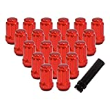 "YITAMOTOR Lug Nuts 12x1.5 Red, 6 Spline Bulge Acorn Wheel Lug Nuts 1.38"" Tall Compatible for Ford Buick Toyota Mitsubishi Mazda Honda with 1 Key"