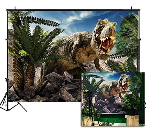 Funnytree 7X5ft Dinosaur World Park Party Backdrop Children Tropical Jungle Safari Photography Background Boy Birthday Rainforest Animals Cake Table Decorations Banner Photobooth Photo Studio Props