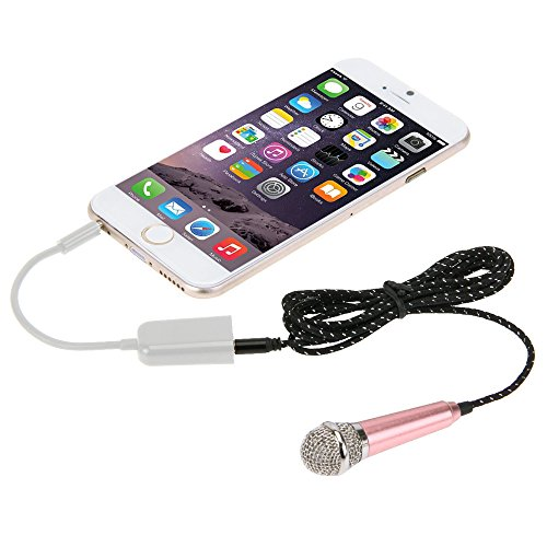 AMZER Stylish Mini Mobile Microphone with 3.5mm Audio Interface & 1.6m 3.5 mm Male to 2 Female Plug Adapter for Voice Recording,Chatting on Cellphones,Tablets,Laptops,Computers