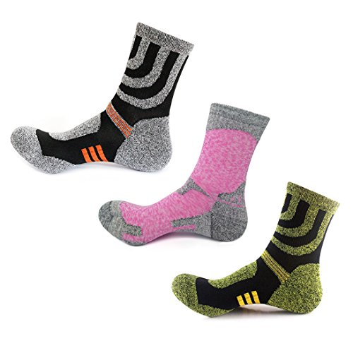 3 Pairs Men Women Hiking Socks - No Blister Terry Cushion, Breathable,...