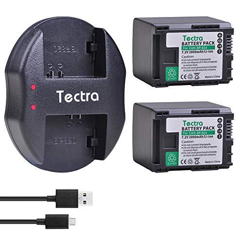 Tectra 2X BP-820 Batteries and Dual USB Charger for Canon VIXIA GX10, HFG20, HF G21, HFG30, HFG40, HFM30, HFM31, HFM32, HFM300, HFS200, XA10, XA11, XA15, XA20 ()