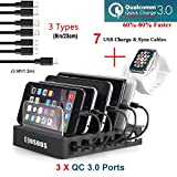 Charging Station for Multiple Devices,75W Fastest COSOOS USB Charging Station with 3X Quick Charge QC 3.0, 7 Phone Charger Cables(3 Type),iWatch Stand,6-Port USB Charger Station for Samsung,Kindle