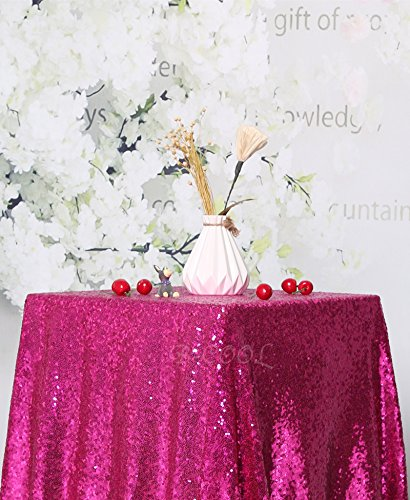 "B-COOL 50""X50"" square Fuchsia sequin tablecloth wholesale and hot sale tablecloth"