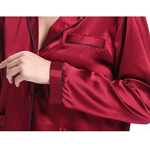 LILYSILK Pijamas Mujer de Con Guarnición De Moda - 100% Seda de Mora 22 Momme, Muy Cómoda y Transpirable - Salir a la Calle en Pijama, Nueva Moda del Mundo Rojo Vino