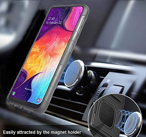 with Built-in Mounting Plate for Samsung Galaxy A50 Belt Hip Holster Stand Galaxy A50 Case with Clip Nakedcellphone Black Rugged Ring Grip Cover 2019