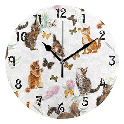 Dozili Santa Claus Milu Deer Wooden Round Wall Clock Arabic Numerals Design Non Ticking Wall Clock Large for Bedrooms,Living Room,Bathroom