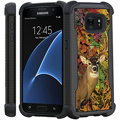 Samsung Galaxy S7 Case, S7 Black Case [Stealth Armor] Hybrid Bumper Case High Impact with Built in Kickstand by Untouchble - Autumn Deer Hunt Sales