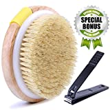 """#3: Body Brush Shower Exfoliator Wet Dry Anti-Cellulite Skin Buffer for Dry Brushing & Exfoliating, Round Schima Wood Scrubber with Natural Scrubbing Bristles, 4.3"""" with Adjustable Hand Strap"""
