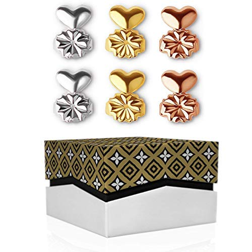 Earring Backs for Droopy Ears with cute Gift Box - 3 Pairs of Earing Backs Secure (Sterling Silver, 18K Gold and Rose Gold plated) Earring Lifters As Seen on TV. Magic Ear Earring Ease and e-book