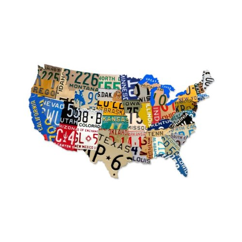 Past Time Signs (PS063) License Plate USA Map Die-Cut Steel Sign 35