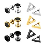 Assorted 6 Pairs Punk Rock Stainless Steel Triangle Hoop Earrings,8MM Round Dumbbell Earring Studs,Hypallergenic