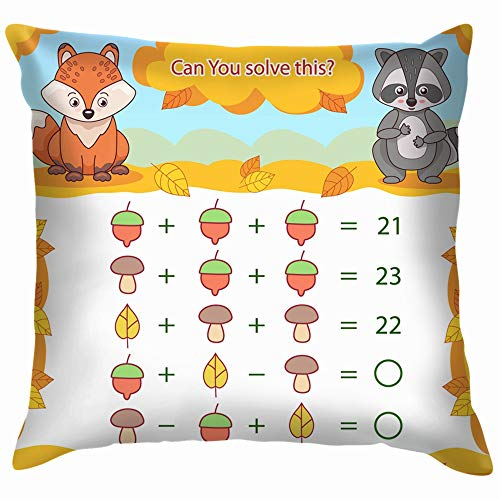 Kids Mathematical Count Game Matching Task Animals Wildlife Vector Education Cotton Linen Home Decorative Throw Pillow Case Cushion Cover for Sofa Couch 22X22 Inch]()