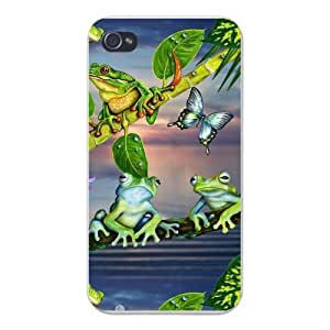 Apple Iphone Custom Case 5 / 5s White Plastic Snap on - Butterflies & Frogs Living Together