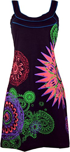 Chic Hippie Alternative Shop Alternative Bekleidung Guru Damen Kurze Tunika Baumwolle Schwarz Minikleid Boho Kleider Bunt qAI55xWwg