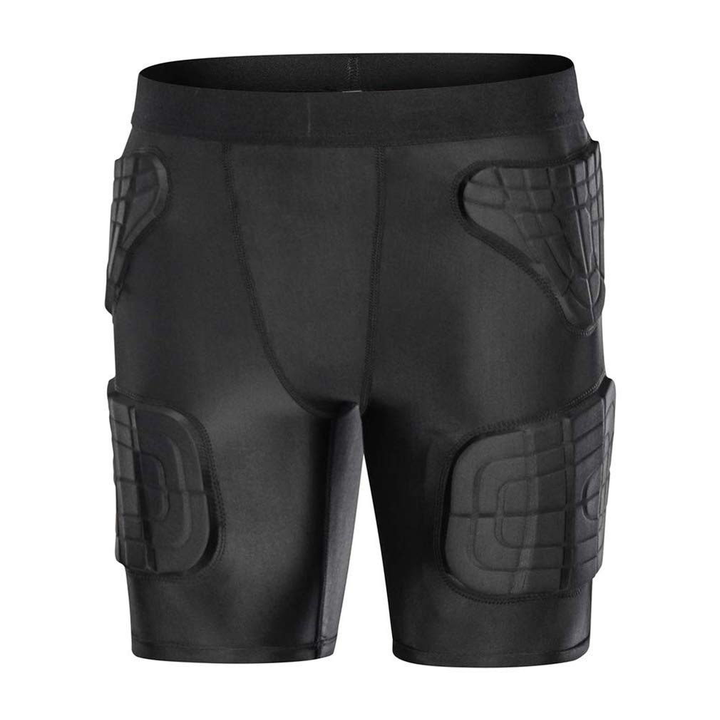 Minimal Su Youth Boys Padded Basketball Shorts Children's Padded Compression Shorts Butt Hip Protective Gear Guard Impact Underwear Pads Black YS