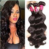 Sunber Hair Unprocessed Raw Virgin Brazilian Body Wave Black, Long Lasting Real Brazilian Wavy Hair Extensions Virgin Human Hair, Mixed Length 12 14 16inches