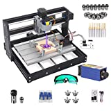MYSWEETY DIY CNC 3018-PRO 3 Axis CNC Router Kit with 7000mW 7W Module + PCB Milling, Wood Carving Engraving Machine with Offline Control Board + ER11 and 5mm Extension Rod (Color: Silver, Tamaño: Full Size)