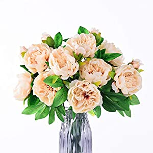 Blooming Paradise Fake Flower Peony Champagne 3 Bouquet 2 Flower Head 1 Bud Each, Silk Lifelike Artificial Flowers House Wedding Decoration 40