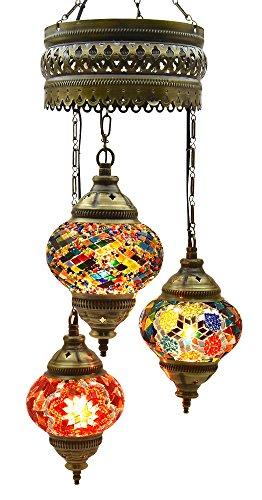 Lámpara de araña, de mosaico, lámpara, turco, lámpara linterna marroquí