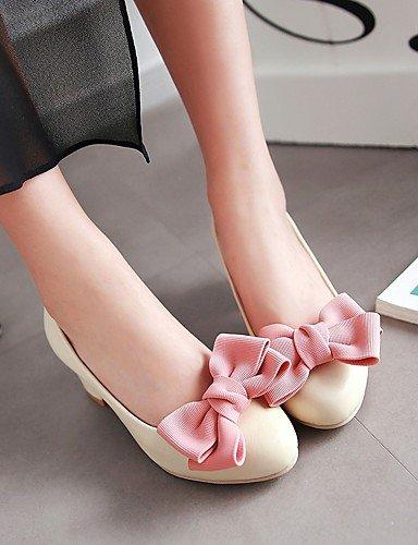 GGX/Damen Schuhe PU Sommer-/, Round Toe Heels Büro & Karriere/Casual geschoben Ferse Schleife Schwarz/Pink/Beige beige-us7.5 / eu38 / uk5.5 / cn38