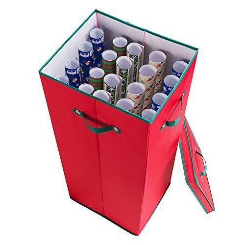 Elf Stor Premium Christmas Wrapping Paper Storage Box with Lid Red w/ Green Trim by Elf Stor