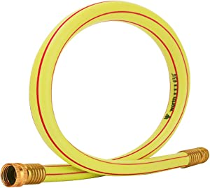 Homes Garden Short Hose 3/4 in. x 3 ft. Yellow Lead-Hose Solid Brass Fittings for Water Softener, Dehumidifier