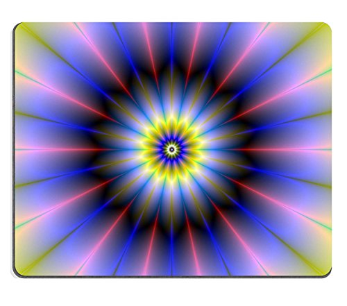 Liili Mouse Pad Natural Rubber Mousepad IMAGE ID: 25800256 Digital abstract fractal image with a floral rosette design in blue yellow and -
